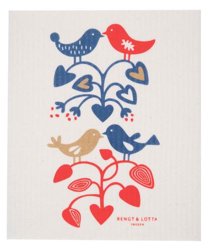 Swedish Dishcloth - Lovebirds