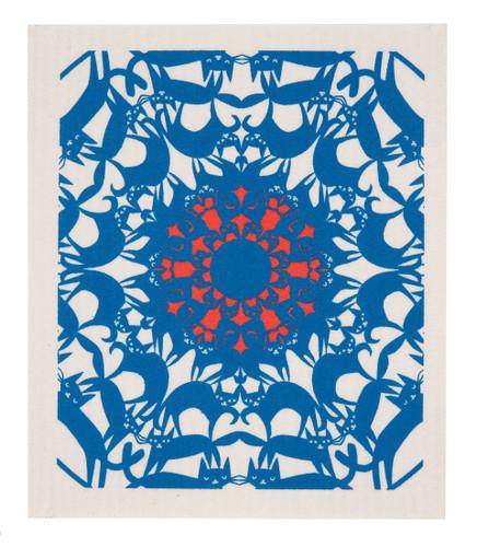 Swedish Dishcloth - Cat Circle Blue