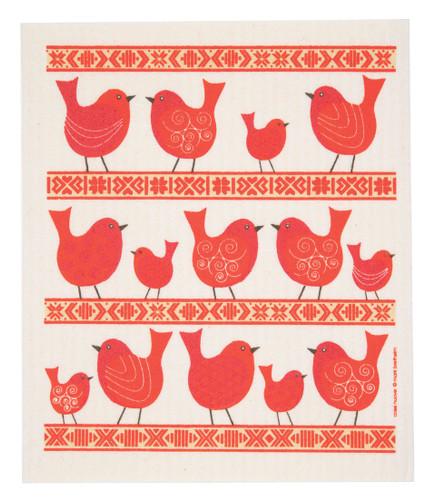 Swedish Drying Mat - Birds and Folk Ribbon Red