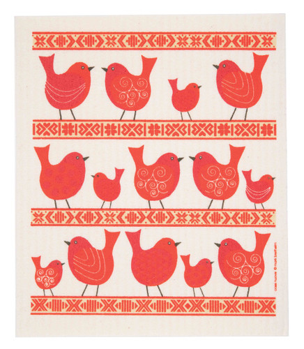 Swedish Dish cloth - Birds and Folk Ribbon Red