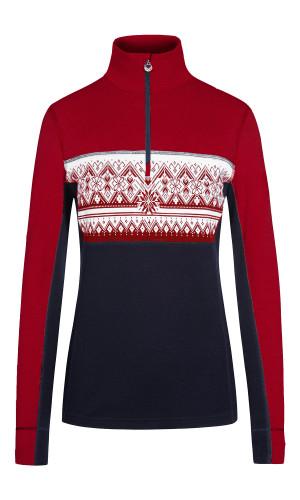 Dale of Norway Moritz Basic Women's Sweater (Base Layer), Raspberry/Navy/Offwhite, 92681B