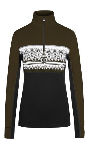 Dale of Norway Moritz Basic Women's Sweater (Base Layer), Dark Green/Dark Charcoal/Offwhite, 92681N