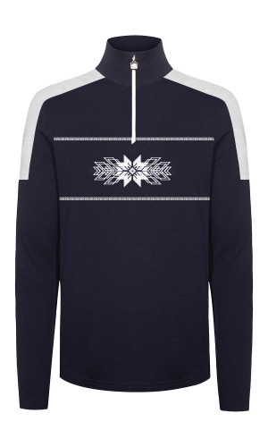 Dale of Norway OL Spirit Basic Men's Sweater (Base Layer), Navy/Off White, 94811C