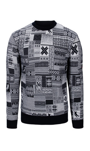 Dale of Norway OL History Basic Crewneck Unisex Sweater (Base Layer), Navy/Off White, 95011C