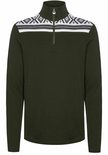 Dale of Norway Cortina Basic Men's Sweater (Base Layer), Dark Green/Off White, 93531N