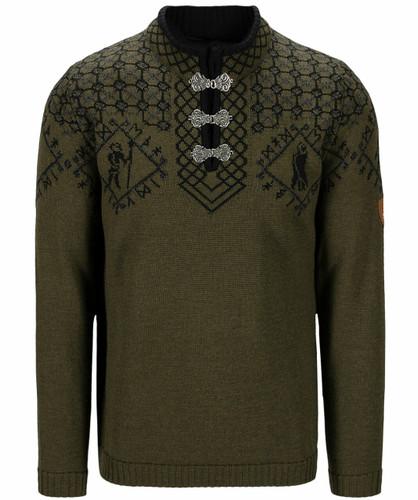 Dale of Norway Hodur Men's Sweater, Army Green/Black/Dark Charcoal, 94711N