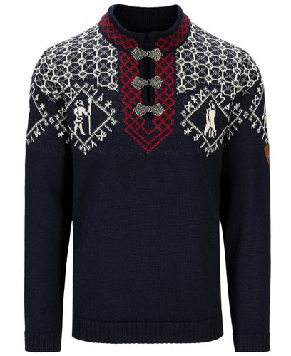 Dale of Norway Hodur Men's Sweater, Navy/Off White/Red Rose, 94711C