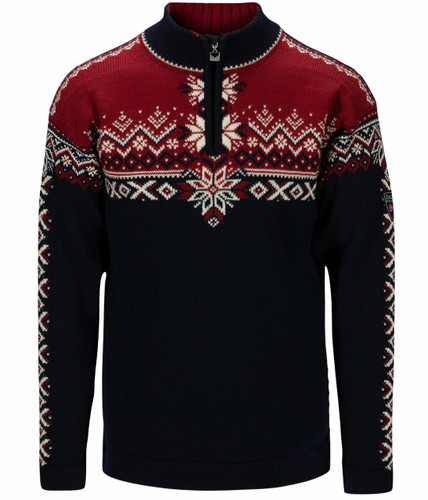 Dale of Norway 140th Anniversary Sweater, Mens - Navy/Red Rose/Off White, 93951-H
