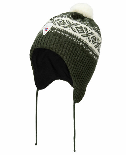 Dale of Norway Cortina Kids Hat 2-4, Dark Green/Off White, 43331-G