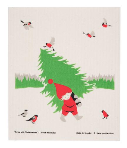 Swedish Christmas Dishcloth - KH Tomte Carrying Tree
