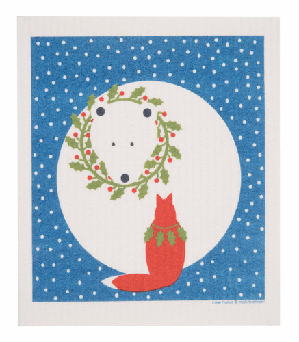 Swedish Christmas Dishcloth - Bear and Fox