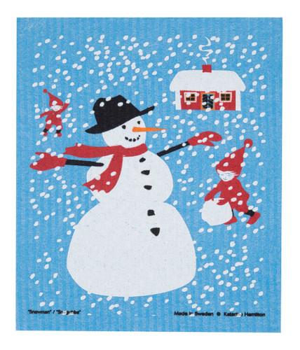 Swedish Christmas Dishcloth - KH Snowman and Stuga