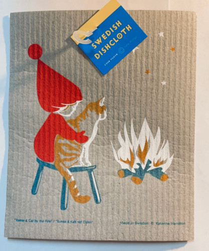 Swedish Christmas Dishcloth - KH Tomte and Cat By Fire, 221.96