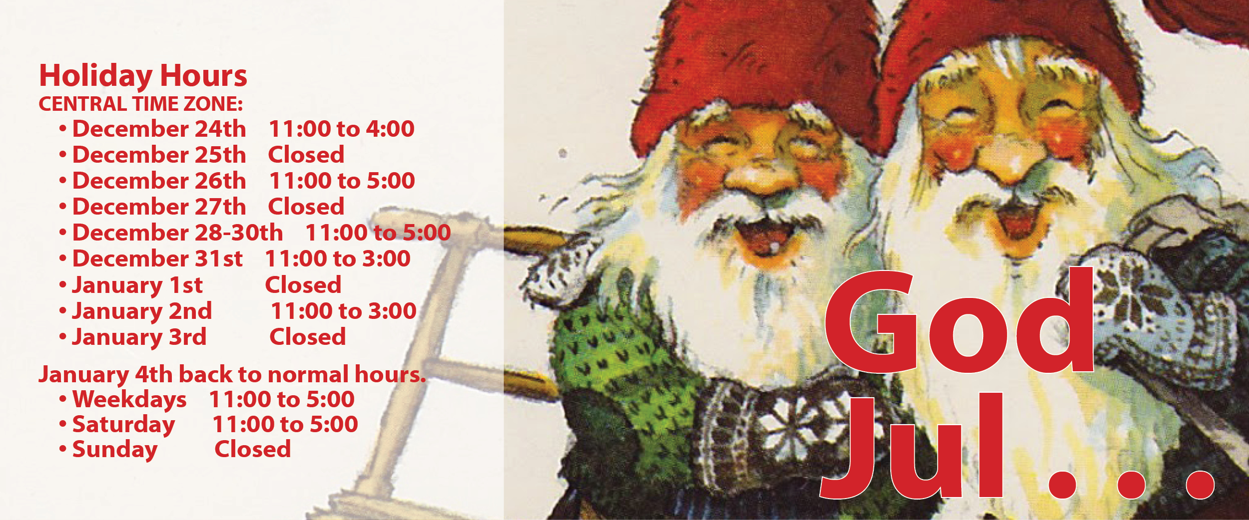 Holiday Hours Sign, The Nordic Shop Holiday Hours