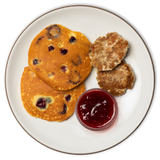 Blueberry Pancakes with Breakfast Sausage & Strawberry Compote