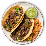 Steak Street Tacos & Spanish Rice Pilaf with Salsa Verde