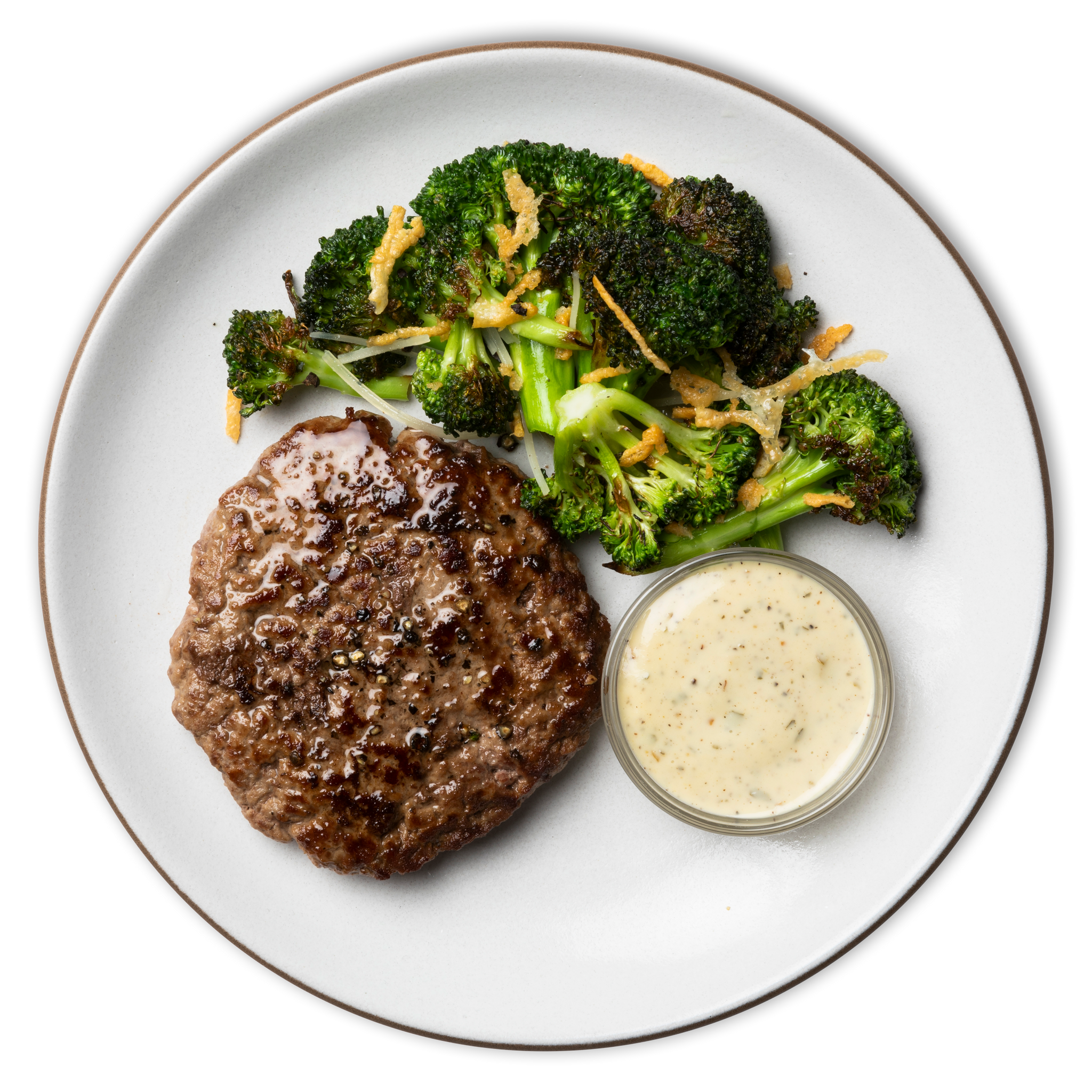 Ranch Burger with Roasted Parmesan Broccoli