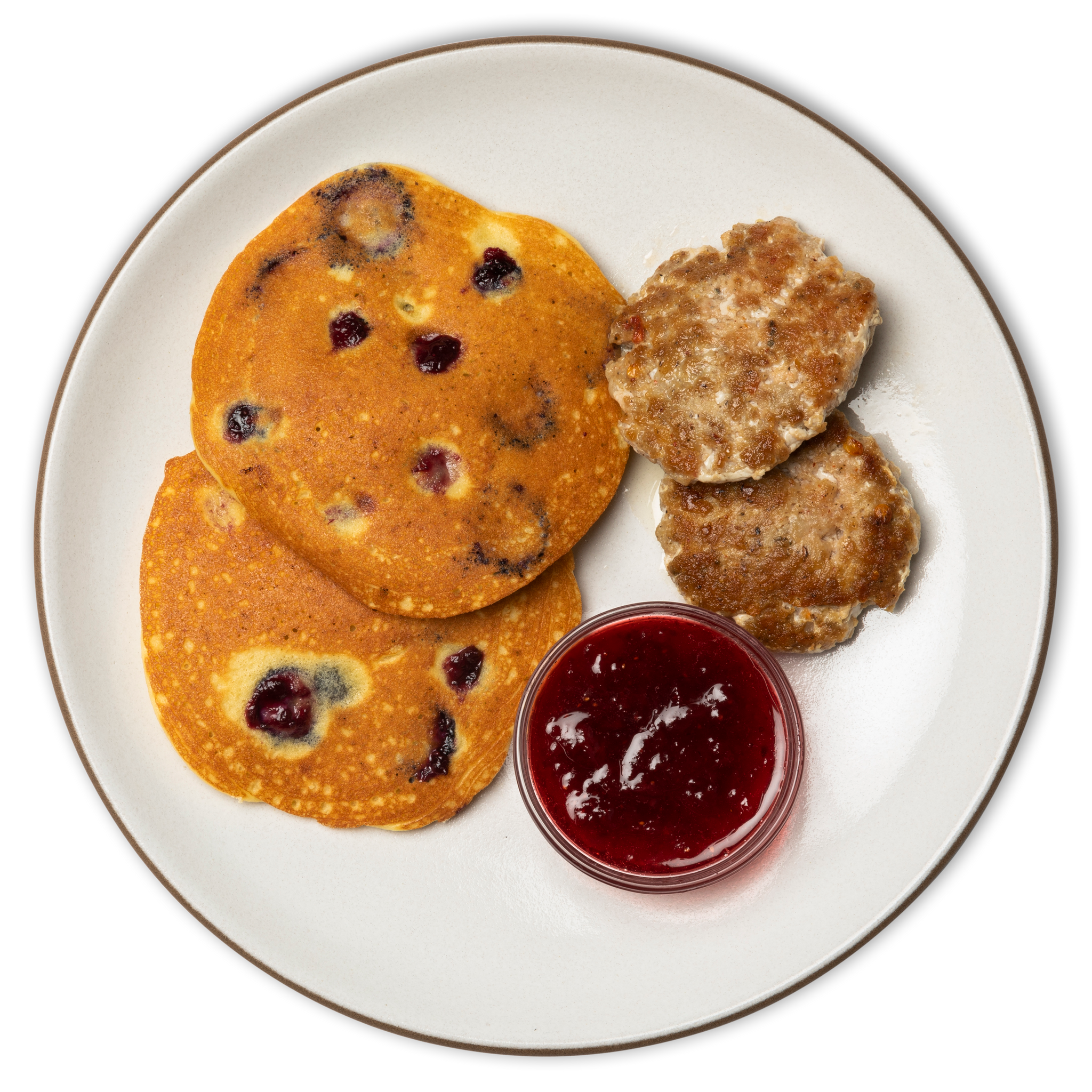 Red, White & Blue Pancakes with Breakfast Sausage