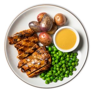 Honey Dijon Roasted Chicken with Tricolor Potatoes & Peas