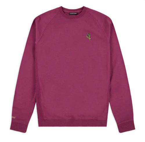 Santa Cruz - Embroidered Mono Screaming Hand Crewneck - Raspberry Pink