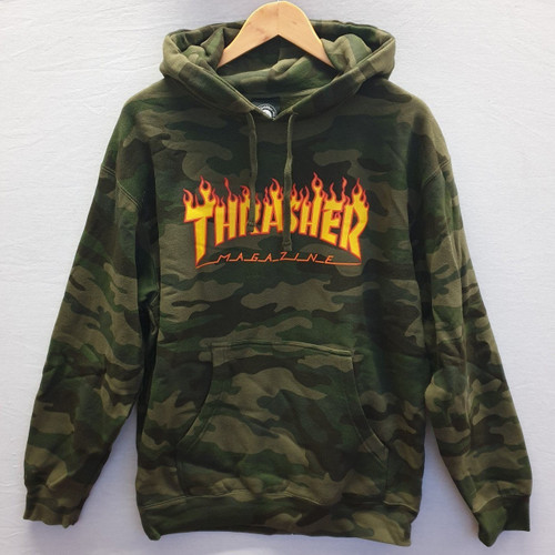 Thrasher Magazine - Flame Pullover Hooded Sweatshirt - Forest Camo