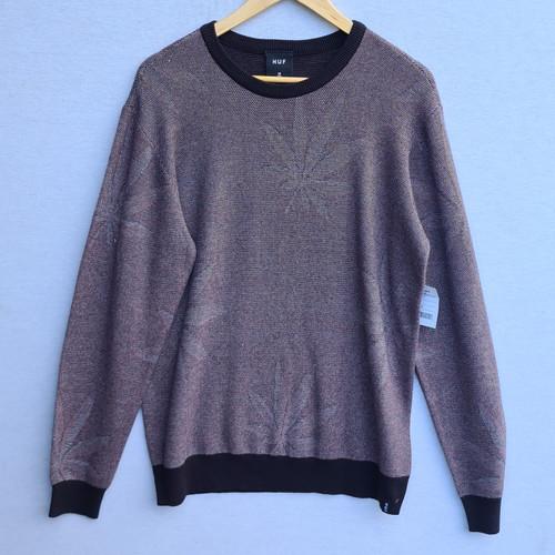 HUF Macro Plantlife Sweater - Black/Burgundy