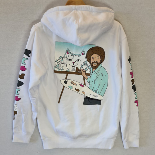 RIPNDIP - Bob Ross Beautiful Mountain Hoodie - White