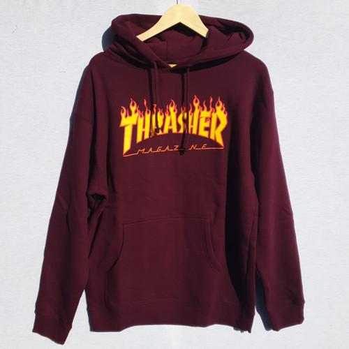 Thrasher Flame Logo Hoodie - Maroon