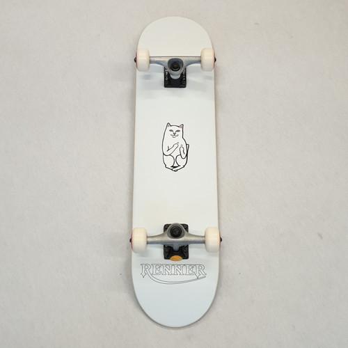 """Renner 7.75"""" Complete Skateboard - White - Ripndip Lord Nermal"""