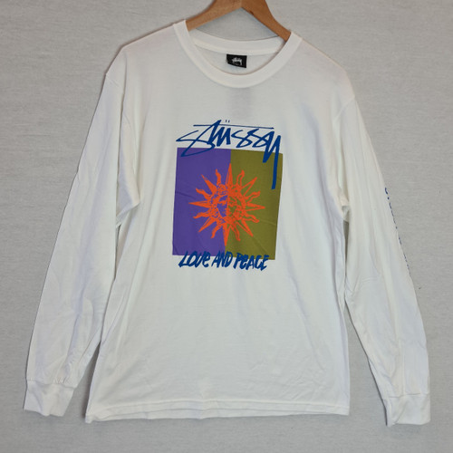 Stussy Love And Peace Long Sleeve Tee - White