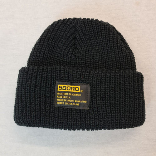 5BORO NYC Rolled Beanie - Black