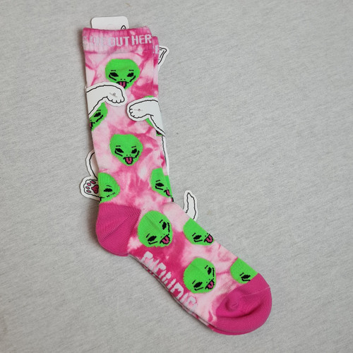 RIPNDIP Alien We Out Here Socks - Pink Lightening Wash