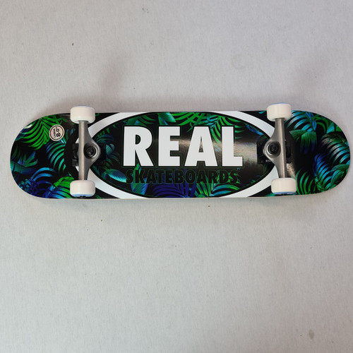 """REAL Skateboards 8"""" Oval Complete Board - Blue/Green Forest"""