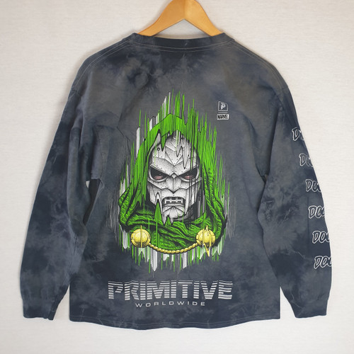 Primitive Skateboards X Paul Jackson X Marvel Doom LS Tee - Washed Black