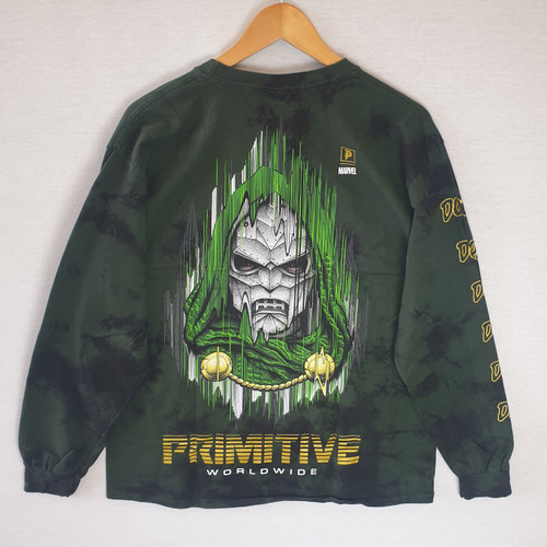 Primitive Skateboards X Paul Jackson X Marvel Doom LS Tee - Washed Green