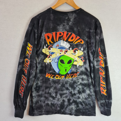 RIPNDIP Out Of This World Long Sleeve Tee - Black Mineral Wash