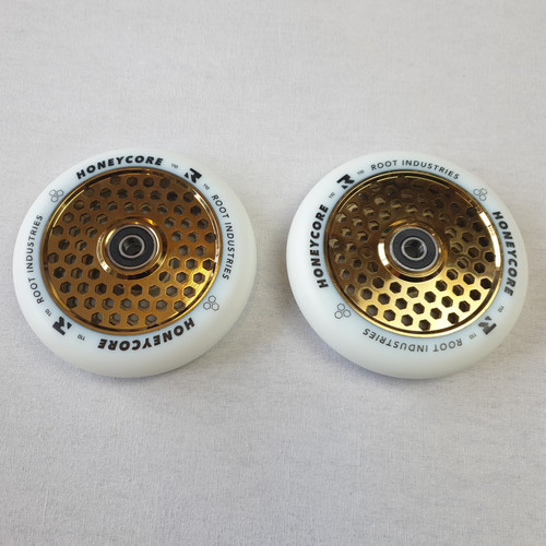 Root Industries 110mm Honey Core Wheels - Pair - White / Gold