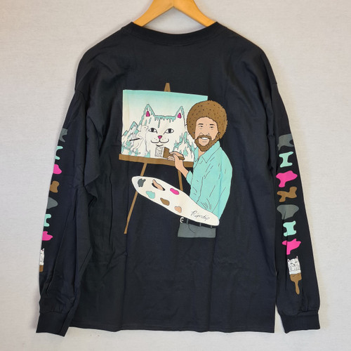 RIPNDIP - Bob Ross Beautiful Mountain Longsleeve - Black