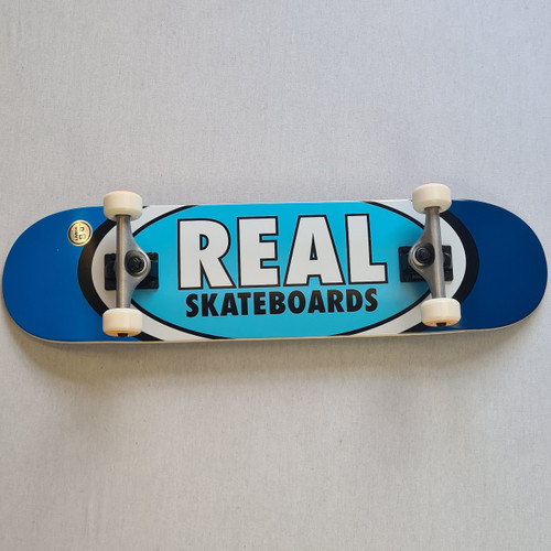 """REAL Skateboards 8"""" Team Edition Oval Complete Board - Blue"""