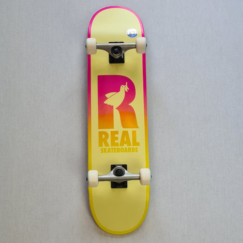 """REAL Skateboards  8"""" Be Free Complete Board - Yellow"""