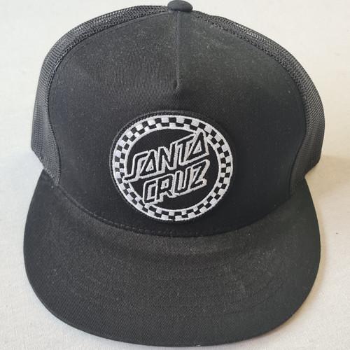 Santa Cruz Skateboards Checkers Logo Snapback Trucker Hat - Black/White