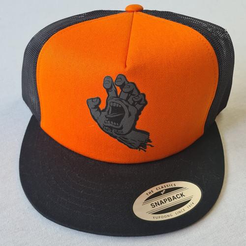 Santa Cruz Skateboards Screaming Hand Snapback Trucker Hat - Orange/Black