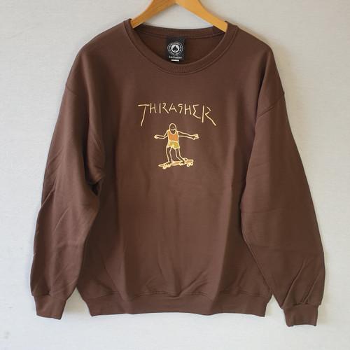 Thrasher Skateboard Gonz Crew Sweatshirt - Brown
