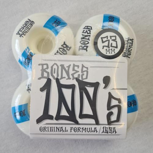 Bones 100's 100a Skateboard Wheels - White - 53mm