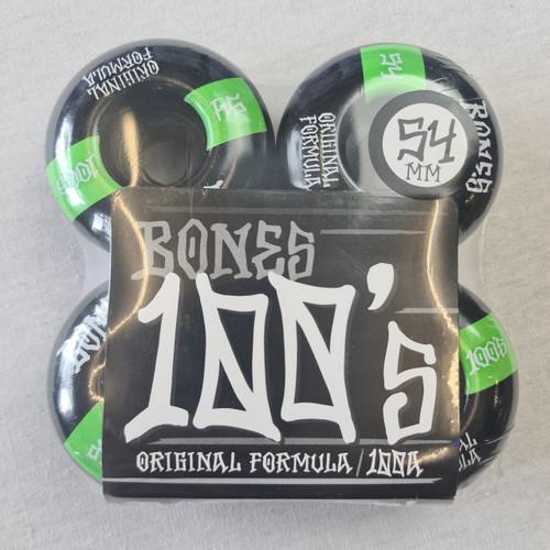 Bones 100's 100a Skateboard Wheels - Black/Green - 54mm