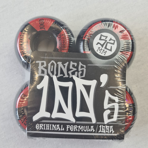 Bones 100's 100a Skateboard Wheels - Black/Red - 52mm