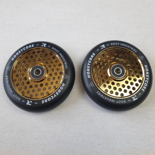 Root Industries 120mm Honey Core Wheels - Pair - Black / Gold