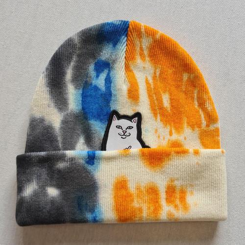 RIPNDIP Lord Nermal Beanie - Grey, Blue & Orange Tie Dye