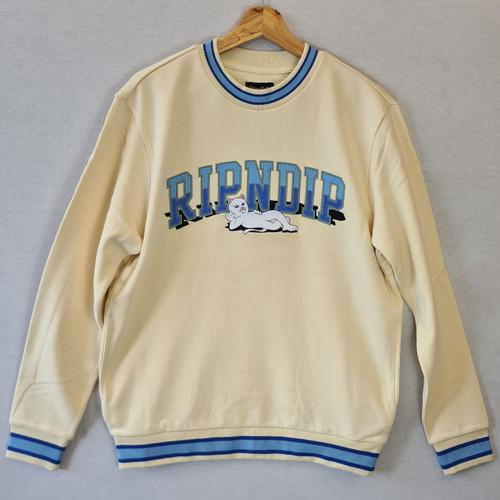 RIPNDIP Team Spirit Embroidered Crewneck Sweatshirt - White