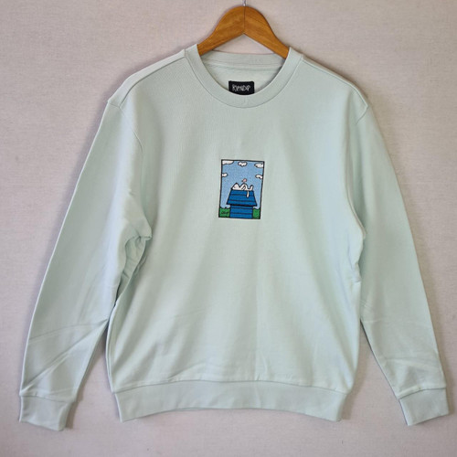 RIPNDIP Not Today Embroidered Crewneck Sweatshirt - Light Blue